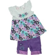 Adorable Toddler Girls Clothes, Toddler Girl Capri Set by Nannette with Brightly Colored Cotton Top with Flower Appliques, Cap Sleeves and Keyhole Button Closure along with Purple Capris with Flower Embroidery, Tabbed Cuffs, Elastic Back, 4 Pockets and Belt Loops.  Too Cute!   Available in Sizes 2T, 3T and 4T