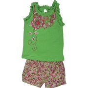 Toddler Girl Short Set  by Nannette Brand - Bright Toddler Girl Short Set with Lime Green Top with Ruffle Trim, Embroidered, Appliqued and Sparkly Transfer of Flowers, Keyhole Buttoned Closure at Back.  Pull-on Flowered Shorts with Front Pleating, Pockets, Belt Loops and Elastic Back.  Very Cute!  Available in Sizes 2T, 3T and 4T