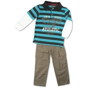 Boys Clothes Sizes 4-7 - Two Piece Boys Outfit with Striped Fooler Polo Shirt in Soft Cotton with Thermal Sleeves and Athletic Screen Print.  Cotton Pants with Half-Elastic Back, Front Pockets and Cargo Pockets.  Available in Sizes 4, 5, 6 and 7. Boyz Wear by Nannette