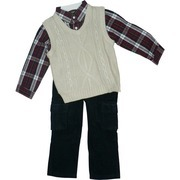 Boys Clothing by Nannette - Smart Looking Boys Vest Set with Beige Cable Knit Vest, Plaid Dress Shirt in Navy and Red, Navy Corduroy Pants with Adjustable Waist and Cargo Pockets. Great for the Holidays!  Available in Sizes 4, 5, 6, and 7