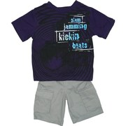 Boys Clothes, Hip Boys Short Set with Stylish Deep Purple Tee with Drum Kit Transfer and Grey Cargo Shorts with Elastic Waist.  Rock On! Available in Sizes 4, 5, 6 and 7. Boyz Wear by Nannette