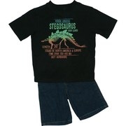 Boys Clothing  - Two Piece Short Set with Stegosaurus Transfer on Black Tee with Ribbed Neckline and Denim Shorts with Elastic Back, Four Pockets and Belt Loops.  Available in Sizes 4, 5, 6 and 7. Boyz Wear by Nannette