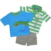 Boys Clothes -  3 Piece Short Set with Green Striped Polo Shirt with Jeep Transfer, Ribbed Tee Shirt has Extensive Alligator Applique and Transfer.  Khaki Shorts with Cargo Pockets, Adjustable Waist and Belt Loops.  Available in Sizes 4, 5, 6 and 7 by Boyz Wear Nannette