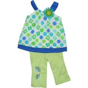 Nannette Brand Toddler Girls Clothes - Cute Two Piece Capri Set with Colorful Top in Dots and Flowers with Silk Flower Embellishment in Matching Colors, Contrasting Straps and Hem, Keyhole Closure.  Cute Capris with Adjustable Waist, Flower Embroidery, Four Pockets and Belt Loops.  So Cute!  Available in Sizes