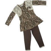 Cute Toddler Girl Legging Set with Leopard Print Top with Lace Shrug with Bow Accent and Brown Leggings with Lace Trim.  Let Her Go Wild!  Available in Sizes 2T, 3T and 4T by Nannette.  See Sister Outfit in Young Girl