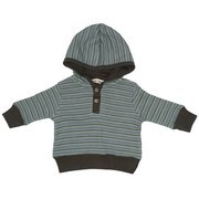 Baby Boy Clothing - Thermal Striped Hoodie with Button Closure, Ribbed Cuffs and Hem and Brown Lined Hood.  Grayish Blue background with Brown, Green and Blue Stripes. Made of 52% Cotton, 46% Modal and 2% Spandex.  Super Soft!  Available in Sizes 3, 6, and 9 months Oatmeal & Raisin Brand by Bon Bebe