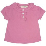 Newborn Girl Clothes - Soft 100% Cotton Pointelle Top with Ruffled Neckline, Button Closure and Gathered Sleeves. Very Dainty!  Available in Sizes 3, 6 and 9 Months, Oatmeal & Raisin Brand by Bon Bebe