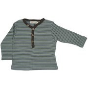 Baby Boy Clothing -Yarn-Dyed Striped Thermal Shirt with Wooden Buttons.  Grayish Blue  background with Blue, Green and Brown Stripes and Brown Trim.  Made of Cotton/Modal and So Soft!  Available in 3, 6 and 9 months.