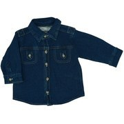 "Infant Boy Clothing - Cotton/Spandex ""Denim"" Shirt with Pointed Collar, Faux Breast Pockets, Button Sleeves all in a Blue Denim Color just Like Dad"