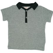 Infant Boy Clothing - 100% Cotton Polo shirt with Textured Weave, Black Collar and Trim over Grey, Button Closure.  Very Soft! Available in sizes 12,18 and 24 months.  Oatmeal & Raisin by Bon Bebe