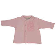 Baby Girls Tops - Ribbed Ruffled Top with Collar and Floral Buttons.  Is Extremely Soft Cotton and Modal.  . Available in 3, 6, and 9 months Oatmeal & Raisin Brand by Bon Bebe