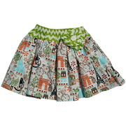 Sweet circle skirt in a French theme with chevron waist and flower. Available in sizes 4, 5 and 6 by Owls & Bats - Made in the USA!