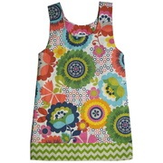 Colorful A-Line Dress with fun Chevron Hem and French Knot Shoulder Ties.  Available in Sizes 5 and 6 by Owls & Bats