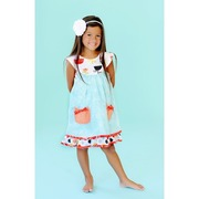 Jelly the Pug Opal Sailor Dress, Sweet Cotton Dress with Aqua Blue  Floral Print Top Layer with Bishop Style Cream Collar  over Multi-Color Dotted Dress with Orange Printed Trim.  Front Orange Polka Dot Pockets with Darker Orange Bows.  Large Orange Snap Buttons at Back.  Unique Colors.  Available in Sizes 7 and 8.  See Smaller Sizes in Girls 4-6X.