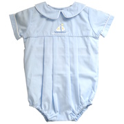 Adorable Preemie Boy Bubble in Baby Blue Color with Sailboat Embroidery (lined at chest), White Piping Around the Peter Pan Collar and Sleeves, Elastic Legs and Matching Hat.  Great Dressy Outfit! *See also in Newborn sizes