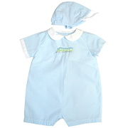 Adorable Baby Blue Striped Shortall with Peter Pan Collar, White Trimmed Sleeves, Train Embroidery (Lined at Chest) and Matching Striped Hat.  Available in Preemie.  See also in Newborn