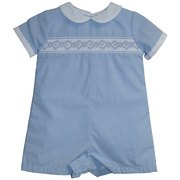 Adorable Blue Mini-Check Shortall with Peter Pan Collar, White Trimmed Sleeves, Smocking, Fully Lined and Matching Hat.  Available in Newborn by Petit Ami