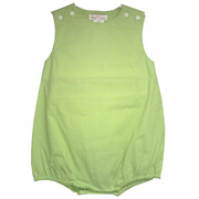 Baby boy (or girl) green and blue mini-check bubble romper by Petit Ami.  Available in sizes 3, 6, and 9 months.