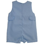 This is a cute shortall in blue mini-check pattern with side tabs that snaps at legs and buttons at back.  Chest is lined for comfort.  Great for dressy occasions! Available in Sizes 3, 6, and 9 months.  See also Infant Boy sizes 12, 18 and 24 months.  by Petit Ami