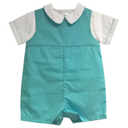 Sweet Petit Ami shortall in turquoise with a white shirt trimmed in turquoise piping on collar and sleeves.  It snaps at legs and buttons in the back. This is a great church outfit!  Available in sizes 3, 6, 9 months. See also in 12-24 months in Infant Boys.