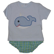 Adorable 3 piece diaper set with blue top (snaps in back) with plaid diaper cover and whale appliques on shirt and bum, includes sun hat.  So cute!  Available in sizes 6-12 months by Petit Ami