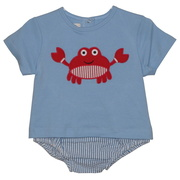 Adorable 3 piece diaper set with blue top (snaps in back) with striped searsucker diaper cover and crab appliques on shirt and bum, includes sun hat.  So cute!  Available in sizes 6-12 months by Petit Ami