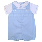 This adorable shortall is in a light blue mini check pattern with a faux white shirt and a Peter Pan Collar with mini check trim and tiny stitching.  The shortall snaps at the bottom, buttons in the back and the front is lined. Back of legs are elasticized.  Very dressy!  Available in sizes 3, 6 and 9 months by Petit Ami