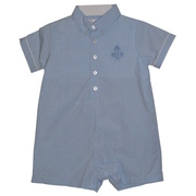 This cute baby boy romper is in a denim blue brushed cotton and has an anchor applique.  With it