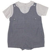 Dressy baby boy romper with white faux collared shirt under a navy check romper with side tabs and matching hat. Great for those dressy events!  Available in sizes 3, 6 and 9 months!  by Petit Ami