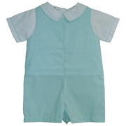 This adorable shortall is in an aqua mini-check pattern which snaps at legs and buttons in back with a separate shirt with a Peter Pan collar trimmed in aqua.  Great for dressy occasions!  Available in sizes 3, 6 and 9 months.  *See also in sizes 12, 18 and 24 months (infant boy)