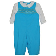 Cute baby boy longall with smocked front, faux Peter Pan collared top, snap legs and button back. Great for church or any dressy occasion.  Available in sizes 3, 6, 9 months. *See also in Infant Boy sizes 12, 18 and 24 months.