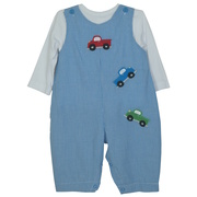 This is an adorable two piece outfit including a blue mini-check coverall/longall with extensive truck appliques, snaps and buttons together with a white long-sleeve top. Very Cute!  Available in Sizes 3, 6, 9 months.  See also in Infant Boy sizes 12, 18, 24 months.