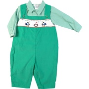 This adorable longall set has a green pinwale corduroy longall with penguin smocking together with a mini-check collared shirt. Longall snaps at legs and buttons at back.  Great for the holidays!  Available in sizes 3, 6 and 9 months. (see also sizes 12, 18 and 24 months in Infant Boy) by Petit Ami