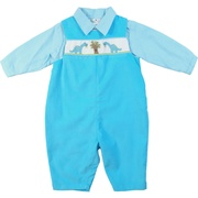 Cute boys clothes, longalls in turquoise pinwale corduroy longall with dinosaur smocking together with a mini-check collared shirt. Longall snaps at legs and buttons at back.  So soft!  Available in sizes 3, 6 and 9 months. (see also sizes 12, 18 and 24 months in infant boy) by Petit Ami