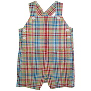 This cute short coverall is in a red plaid seersucker material with top and side buttons, snaps at legs and two patch back pockets.  Great alone or with a tee shirt for the Summer.  Available in sizes 3, 6 and 9 months (see also in Infant Boy sizes 12, 18 and 24 months) by Petit Ami