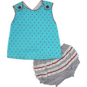 Adorable Newborn Girl Sun Set in Turquoise with Red Polka Dot Top, Red Rick-Rack Trim, Red Buttons and Criss-Cross Back. Top is Fully Lined. Cute Plaid Rhumba Panty in Coordinating Plaid Colors.  Too Cute!  Available in Sizes 3, 6 and 9 Months.  by Petit Ami. See Sister Dresses in Infant, Toddler and Young Girl