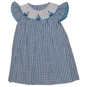 Cute baby girl dress set in blue windowpane pattern with embroidered sailboats on bishop neckline, includes bloomer. Ring in Summer!  Available in sizes 3, 6, and 9 months (see also in 12-24 mos. and toddler sizes) by Petit Ami