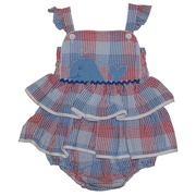 Sweet baby girl bubble in red, white and blue plaid with a cute whale applique. Summer fun!  Available in sizes 3, 6 and 9 months (see also in 12-24 months and coordinating dress in 2-4T and Jon Jon in baby and Infant Boy) by Petit Ami