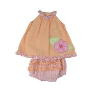 Baby Girl Sun Set - Adorable Baby Girl Seersucker Dress Set with Sack Top with Round Ruffled Neckline, Appliqued Hibiscus Flower with Pearl Beading and Matching Rhumba Panty. So Cute!  by Petit Ami Available in Sizes 3, 6, and 9 Months.  Sister Dress Available in Infant Girl by Petit Ami