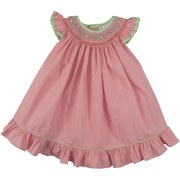 Petit Ami Toddler Girl Dress in Pink and Yellow Mini Check with Bishop Smocking with Tiny Rosettes and Mini Pearls. Neck and Flutter Sleeves Trimmed in Green and Yellow. Great for Summer! Available in Sizes 2T, 3T and 4T (See Sister Outfit in Baby Girl)
