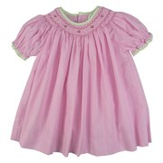 Sweet Petit Ami Baby Girl Dress Set in Pink Mini-Check with Green Trim on Neckline and Sleeves, Bishop Smocking with Flowers and Beads and Matching Bloomer.  Adorable!  Available in Sizes 3, 6 and 9 Months