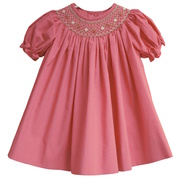 Sweet mini-check dress in fuchsia and pink with bishop smocked neckline, shirred sleeves and matching panty.  Available in Sizes 12, 18 & 24 mos.  See also Baby Girl and Toddler Girl sizes by Petit Ami