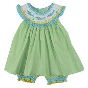 Cute Petit Ami Baby Girl Dress Set with Bishop Collar and Dolphin Smocking on Green, Blue and Yellow Mini Check Fabric with Matching Bloomers Trimmed in Rick Rack and Blue Ruffles. Adorable Summer Outfit! Available in Sizes 3, 6, 9 Months