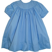 This pretty blue dress set has a bishop collar (great for a monogram) that leads to small tucks that give the dress a feminine touch, short sleeves and a matching panty round out the look.  Great for Easter or any dressy occasion!  Available in sizes 3, 6, 9 months by Petit Ami