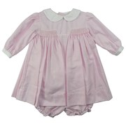 Baby Girl Clothes by Petit Ami, Precious Baby Girl Dress Set in Pink Houndstooth with Delicate Smocking (Lined for Comfort), Peter Pan Collar, Three-button Back and Matching Panty.  Available in sizes 3, 6, and 9 months.  *See Sister Dress in Preemie Girl (up to 7 pounds) and Newborn (7+ pounds)