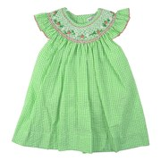 Adorable Toddler Girl Seersucker Dress in Green and White with Angel Flutter Sleeves and Bishop Neckline with Flower Smocking, Four Button Closure.  by Petit Ami Available in Sizes 2T, 3T and 4T. Smaller Sizes Available in Baby Girl