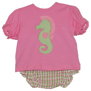 Adorable 3 piece diaper set with pink ruffled top (snaps in back) with plaid diaper cover and seahorse appliques on shirt and bum, includes sun hat!  So cute!  Available in sizes 3-6 and 6-12 months by Petit Ami