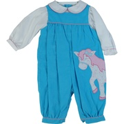 This adorable coverall is in soft pinwale corduroy in turquoise with dainty pin tucks and a pink and blue pony applique and pink houndstooth trims.  The faux white blouse has a Peter Pan collar as well as the pink trim.  So feminine!  Available in sizes 12, 18 and 24 months (see also Baby Girl) by Petit Ami