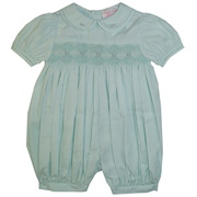 Sweet French bubble in a light mint green color with delicate smocking and hand embroidered flowers on the Peter Pan collar and smocked front. Precious!  Makes a great Easter outfit!  Available in sizes 3, 6 and 9 months by Petit Ami