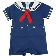 Infant Boy Clothing by Petit Ami - Cute Infant Boy Bobby Sailor Set with Navy Trim on Collar and Sleeves, Red Tie.  Lined Shorts Button to Top.  Light Blue Set Trimmed in White with White Tie.  So Sweet!  Great for 4th of July Celebrations! Available in Sizes 12, 18, and 24 Months.  See Matching Outfits in Newborn Boy, Baby Girl and Infant Girl.